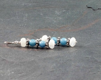 Blue and white gemstone earrings, Dangling Earrings