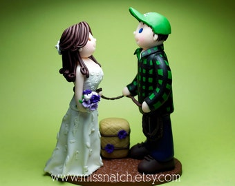DEPOSIT - Custom Rustic Barn Outdoor Lovely Couple Figurine Cake Topper and Keepsake