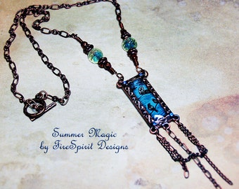 Summer Magic- handmade necklace- ooak necklace- chain necklace- pendant necklace- handmade jewelry- art to wear- gift for her- casual wear