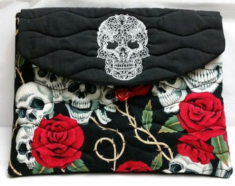 iPad case Machine Embroidered Skull - Highlighting Red Roses and Skull Fabric on Front
