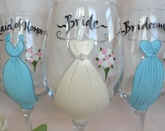 Hand Painted Bridesmaid Wine Glasses - Bridesmaid Wine Glasses - Bridesmaid Gifts - Hand Painted Bridal Glassware
