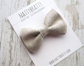 Natural Linen Clip On Bow Tie  -  Baby Boy Toddler Kids Teen - Ring Bearer Wedding Special Occasion - Spring Summer Beach Seaside Country