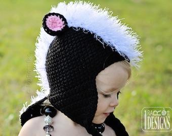 PATTERN Daisy the Skunk Crochet Hat Pattern in PDF Instant Download