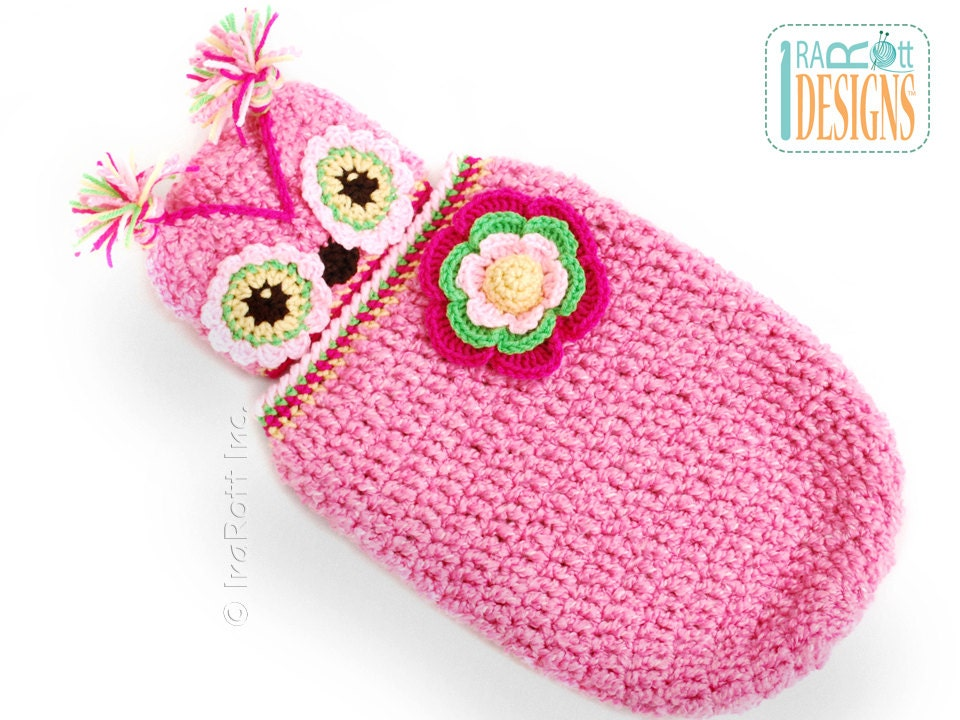 Crochet Chunky Owl Hat Pattern : PATTERN Chunky Flower Owl Hat and Cocoon Set Crochet PDF