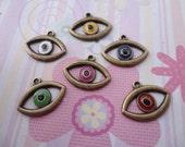 mixed color--set of 10--metal eye charm--antique brass basic--21x16mm--metal pendant-metal charm