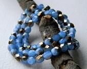 6mm Cornflower opal Czech Glass Beads, Czech Fire Polished beads, Opal Cornflower & Chrom finish, 6mm (40pcs)