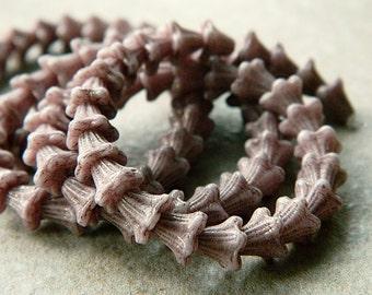Pastel Mauve Flower Czech Glass Beads, Baby Bell Flower Beads, 6x5mm (50pcs) NEW