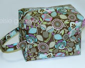 Choose Any Fabric in My Shop or Brown Aqua Purple Green Floral Knitting or Crochet Yarn Project Boxy Pouch with Handle