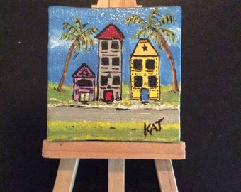 Original one of a kind acrylic painting on mini canvas with easel.