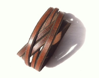 Brown Leather Cuff Bracelet, 5 Wrap Leather Bracelet For Men, Leather cuff bracelet Gift for Him, Man Bracelet, Gift for Men