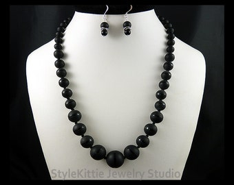 Matte Black Onyx with Polished Band, Necklace, Dangle Earring, 925 Sterling Silver, Graduated, Hand Knotted, Gemstone, 2 Piece Set, Jewelry