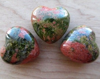 Heart Unakite Gemstone Heart Unakite Heart Pocket Gem Green and Pink Gemstone Heart