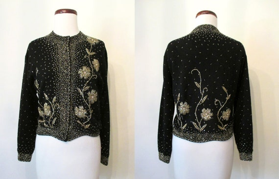 """Best Ever 1950s Hand Beaded Floral Design Knitted Sweater w/ Scalloped Hem by """"Miss Boutique"""" Chic Rockabilly VLV Sweater Girl Size-Large"""