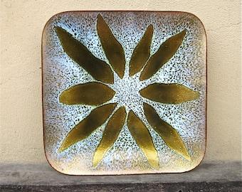 Mid Century Modern Maggie Howe Mexican Enamel Copper Dish