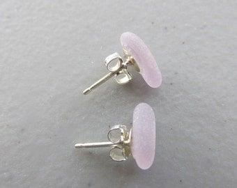 Sea Glass Earrings, Stud Earrings, Post Earrings, Amethyst Earrings, Beach Glass Jewelry, Gift for Her, Beach Glass Earrings, Glass Jewelry