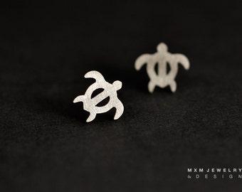 Sterling Silver Little Sea Turtle Stud Earrings