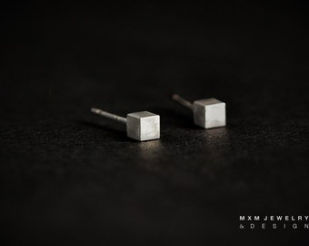 Tiny Sterling Silver Cube Stud Earrings