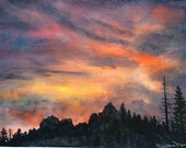 "Sierra Nevada Mountains Landscape Original Watercolor Art ""Sierra Sunset"" Original Painting, sunset with silhouetted forest pine trees rocks"