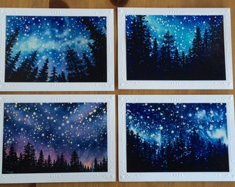 ART GREETING CARDS Framable Sierra Mountain Celestial Series, Starry night card Set of 4 Different Embossed Note Cards watercolor art prints