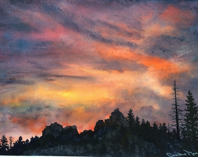 "Sierra Nevada Mountains Landscape Original Watercolor Art ""Tahoe Expressions"" Original Painting, sunset w silhouetted forest pine trees"