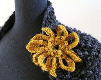 FREE US SHIPPING- Golden Mustard Black Color Fashion Crochet Flower Brooch Hat Hair Scarf Shawl Pin