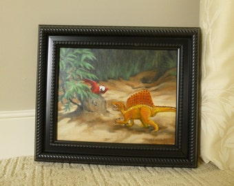 """Spinosaurus and Parrot 8"""" x 10"""" Framed Painting"""