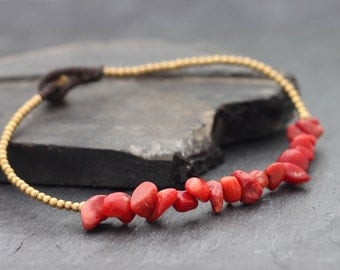 Coral Minimal Stone Anklet