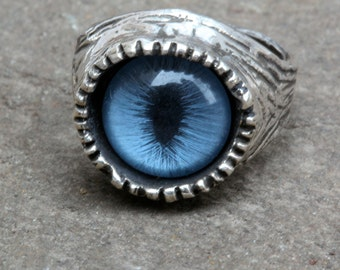Blue Cat  Eye Ring sizes 4 to 11 self adjustable sterling silver made in NYC quantity listing