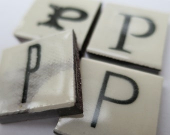 P Ceramic lettering, scrabble sized alphabet tiles hand made in the UK