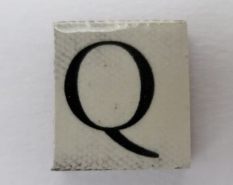 Q Ceramic lettering, scrabble sized alphabet tiles hand made in the UK