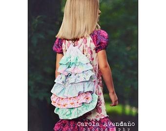 Ruffle Drawstring Backpack Pattern, Bag Sewing Pattern, Backpack Sewing Pattern, Drawstring Bag Pattern, Easy Sewing Pattern