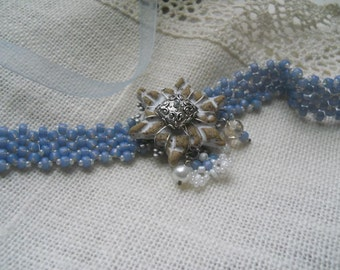 Beaded Snowflake Choker in Frosty Blue and Icy White