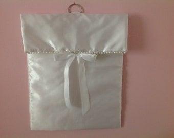 A white sateen wedding shoe bag