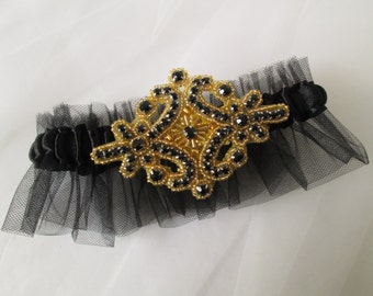 Black & Gold Prom 2016 Garter, Black Wedding Garter, Roaring 20s Vintage Gold Black Bridal Garter, New Year's Wedding