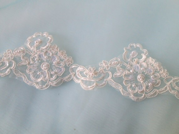 Ivory Alencon Lace Ivory Beaded Lace Lace by GibsonGirlGarters