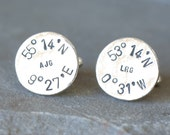 Personalized Longitude and Latitude Co-Ordinate Initial Sterling Silver Cufflinks