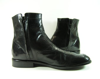 vintage ankle zipper boots mens 9.5 D black David Taylor shoes leather