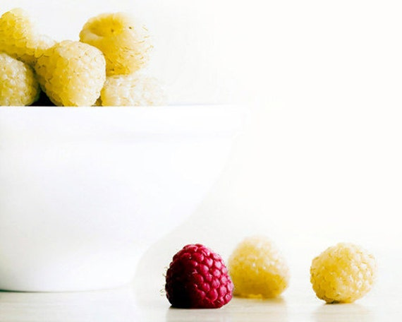 Raspberries, Yellow, White, Red, Food Photography, Kitchen Wall Art, Minimalist, Kitchen Print, Tropical Decor