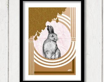 "Hare, Graphic Art Print Rabbit Lepus 8""x12"""