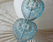 Czech Glass Heart Beads - Jewelry Making Supplies - Aqua With Gold Inlay - 17mm (4 or 10 beads)