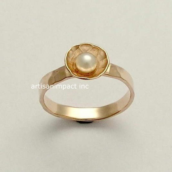 Rose Gold Ring Simple Ring Engagement Ring Pearl By