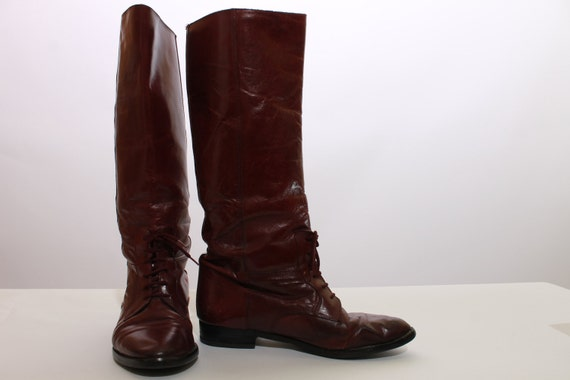 8 70s boots knee high maroon oxblood by