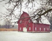 Red Barn Photography, Red Barn in Snow, Barn Photo, Old Barn Photo, Red Barn in Winter, Farmhouse Decor, Country Home Decor