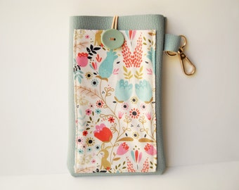 Pastel floral Kindle Paperwhite case, sky blue faux leather cover, e-reader sleeve with pocket and hook
