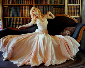 Blush Pink Hand Beaded Ballgown in Hemp Silk Jacquard with Floral Tonal Silk Print Made to Measure Wedding Gown Dress