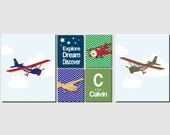 Airplanes Baby Boy Nursery Decor, Kids Wall Art, Toddlers, Navy Blue, Green, Red, Explore, Dream, Discover, Set of 6, Art Prints