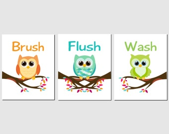 Owl Bathroom Art,  Kids Bathroom Art, Bathroom Wall Art, Wash, Brush, Flush, Green, Orange, Teal, Bathroom Decor, Set of 3, Prints or Canvas