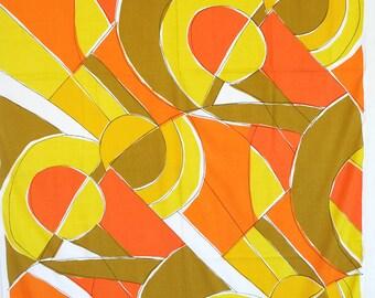 Yardage of mod fabric. Color block, Vera, yellow, mustard, orange, geometric, cotton or cotton blend, stunning.
