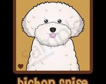 Bichon Frise Cartoon Heart T-Shirt Tee - Men's, Women's Ladies, Short, Long Sleeve, Youth Kids