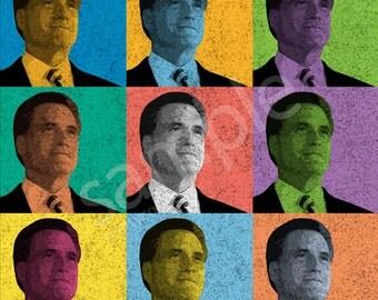 Mitt Romney Vintage-Style Pop-Art T-Shirt Tee - Men's, Women's Ladies, Short, Long Sleeve, Youth Kids